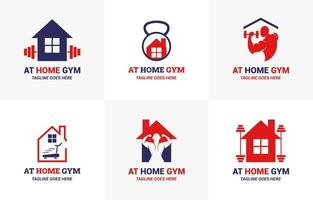 At Home Gym Simple Flat Logo Template Set vector