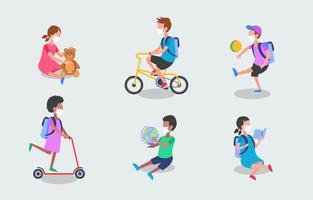 School Students Activity with New Normal Protocol Character Design vector