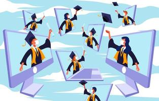 Online Celebrating Graduation Flat Illustration Design vector