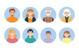 Set of People Avatar Flat Design vector