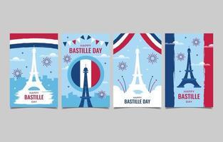 Bastille Day Greeting Card Set vector
