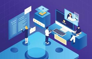 Isometric People Working with Technology Illustration vector