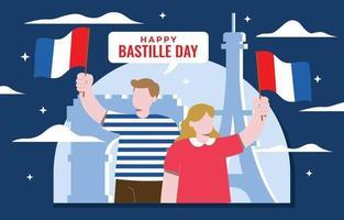 Happy Bastille Day Illustration Concept vector