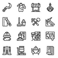 Labour Tools Line Icons vector