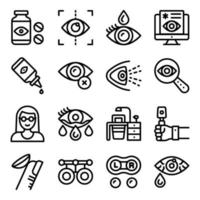 Optometry Linear Icons vector