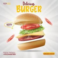 Plantilla de póster de anuncios de hamburguesa deliciosa, la mejor opción de restaurante o comida rápida. banner de hamburguesa para promoción. vector