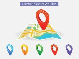 mapa de ubicación con punteros de diferentes colores vector