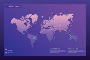 World map landing page design vector