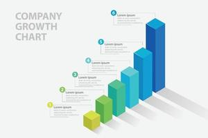 Company Growth chart inforgraphic template vector