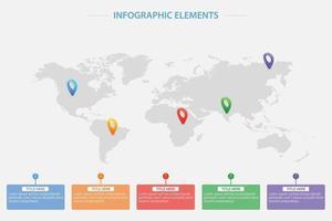 plantilla de infografía con mapamundi y punteros de ubicación vector