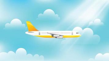Aeroplane flying in the sky vector