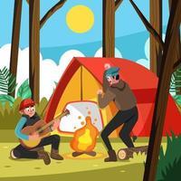 pasar la actividad de verano con el camping. vector