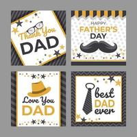 Happy Fathers Day Greeting Card Set vector