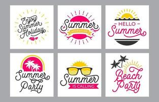 Summer Lettering Typography Set Template vector
