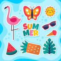 Summer Colorful Sticker Design Collection vector