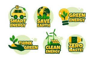 Clean Eco Greem Technology Sticker Set vector