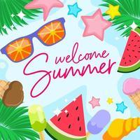 bienvenido verano colorido ambiente vector