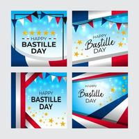 Happy Bastille Day Card Collection Template vector