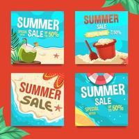 Set of Summer Sale Marketing Social Media Posts vector