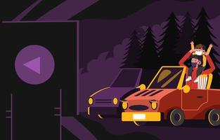 Happy Son and Dad in Drive in Movie Concept vector
