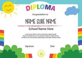 diploma certificado para niños arcoiris vector