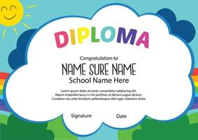 escuela colorida y preescolar niños de jardín de infantes diploma niños certificados vector