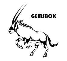 Gemsbok raising two front legs to prepare to run vector