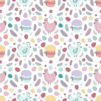 Easter seamless pattern. A pattern with chickens decorated with eggs, cakes, and feathers. Design for textiles, packaging, wrappers, web, printing. Vector flat illustration
