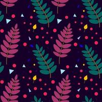 Botanical seamless pattern with plant elements. Rowan leaves, berries. Design for textiles, fabric, covers, wallpaper, printing, gift packaging. Vector illustration