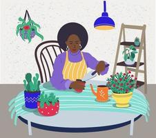 A black-skinned woman takes care of indoor plants.An African-American woman grows indoor plants. Vector flat illustration