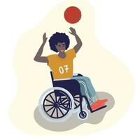 A black disabled man plays basketball in a wheelchair. World day of disabled people. Paralympic sports. People with disabilities. Vector illustration