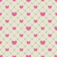 Pink hearts on a yellow checkered background. seamless pattern. design for Valentines Day, invitation cards, wrapping paper, textiles, wedding decorations. vector
