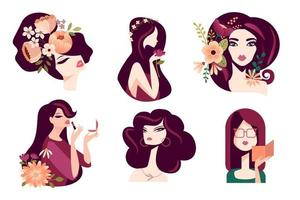Set of woman illustration concepts for beauty, cosmetics, fashion. Flat design vector for graphic and web design, marketing material, social media, textile design.