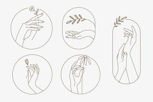 Set of modern line hands concepts for beauty, cosmetics, healthcare, body care, fashion. Vector illustration elements for graphic and web design, marketing material, product presentation, social media.