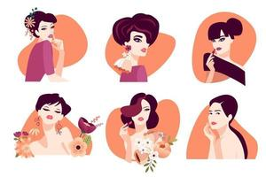 Set of woman illustration concepts for beauty, cosmetics, healthcare, fashion. Flat design vector for graphic and web design, marketing material, product presentation, social media, textile design.