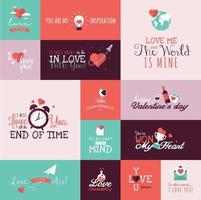 Set of Valentines day signs and banners vector