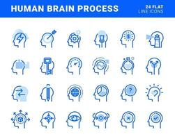 Set of flat line icons of human brain process, emotions, mental health, creative process, business solutions, character experience, learning, strategy and development, opportunities. vector