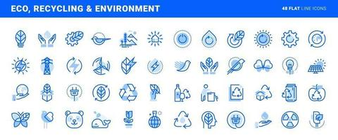 Set of flat line icons of environment, green technology, renewable energy, recycling. Vector concepts for website and app design and development.
