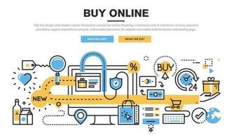 Flat line design style modern vector illustration concept for online shopping, e-commerce and m-commerce services, payment procedure, support and delivery process, online order procedure.