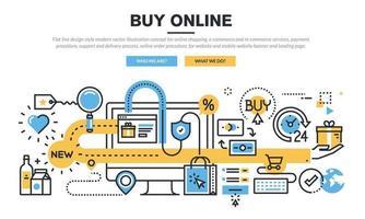 concepto de ilustración de vector moderno de estilo de diseño de línea plana para compras en línea, servicios de comercio electrónico y comercio móvil, procedimiento de pago, proceso de soporte y entrega, procedimiento de pedido en línea.