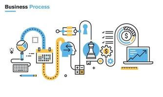 Flat line illustration of business process, market research, analysis, planning, business management, strategy, finance and investment, business success. Modern design vector concept for web banners and printed materials, isolated on white background.