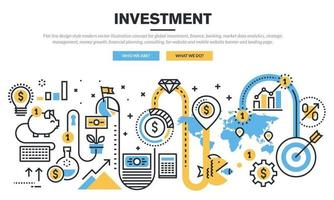 Flat line design style modern vector illustration concept for global investment, finance, banking, market data analytics, strategic management, money growth, financial planning, consulting, for website and mobile website banner and landing page.
