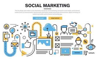 concepto moderno del ejemplo del vector del estilo del diseño de la línea plana para el marketing social. concepto de redes sociales, redes sociales, formas modernas de comunicación, intercambio de información de medios, comunicación de redes de personas, marketing digital.