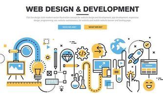 Flat line design style modern vector illustration concept for website design and development, app development, responsive design, programming, seo, website maintenance, for website and mobile website banner and landing page.