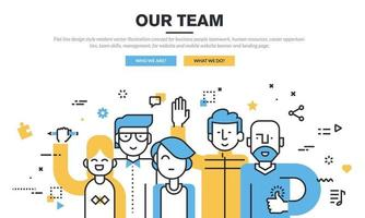 Flat line design style modern vector illustration concept for business people teamwork, human resources, career opportunities, team skills, management, for website and mobile website banner and landing page.