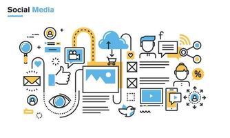 Ilustración de línea plana de redes sociales, redes sociales, uso compartido de videos y fotos, comunicación, blogs, lifecasting, comercio social. concepto de vector de diseño moderno para banners web y materiales impresos, aislado sobre fondo blanco.