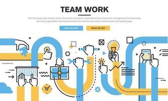 Flat line design style modern vector illustration concept for corporate business, teamwork, management, brainstorming, planning, organization and implementation, for website and mobile website banner and landing page.