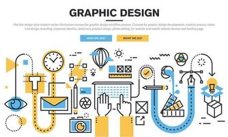 Flat line illustration of design process from defining the problem, through research, brainstorming and analysis to presentation of ideas, improving design and product development. Modern design vector concept for web banners and printed material.