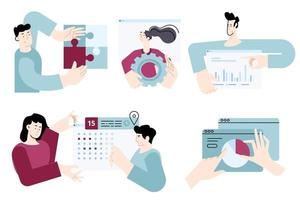 Set of flat design people concepts for business solution, management, analysis and planning, project development. Vector illustrations for graphic and web design, business presentation, marketing.