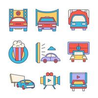 Drive In Movie Icon Set vector